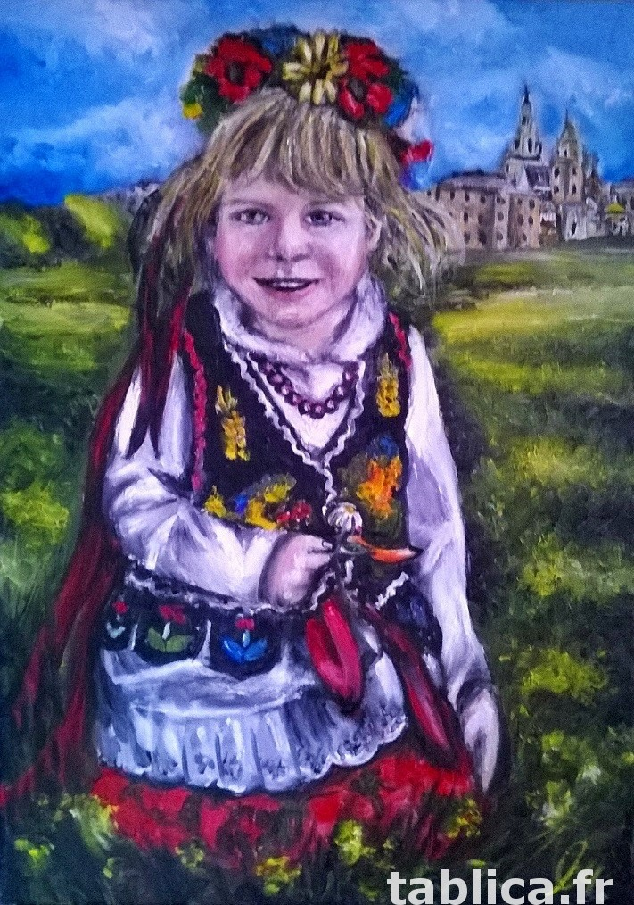 Sprzedam obraz olejny - Dziewczynka w stroju Krakowskim 0