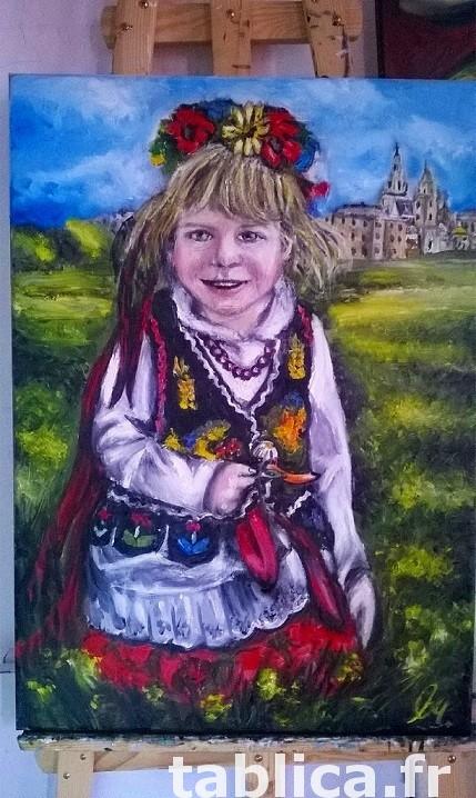 Sprzedam obraz olejny - Dziewczynka w stroju Krakowskim 1
